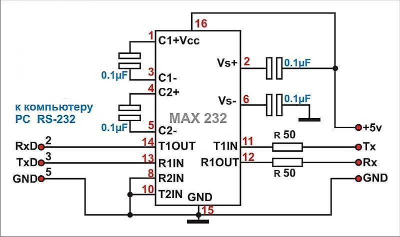 Max232 схема кабеля samsung